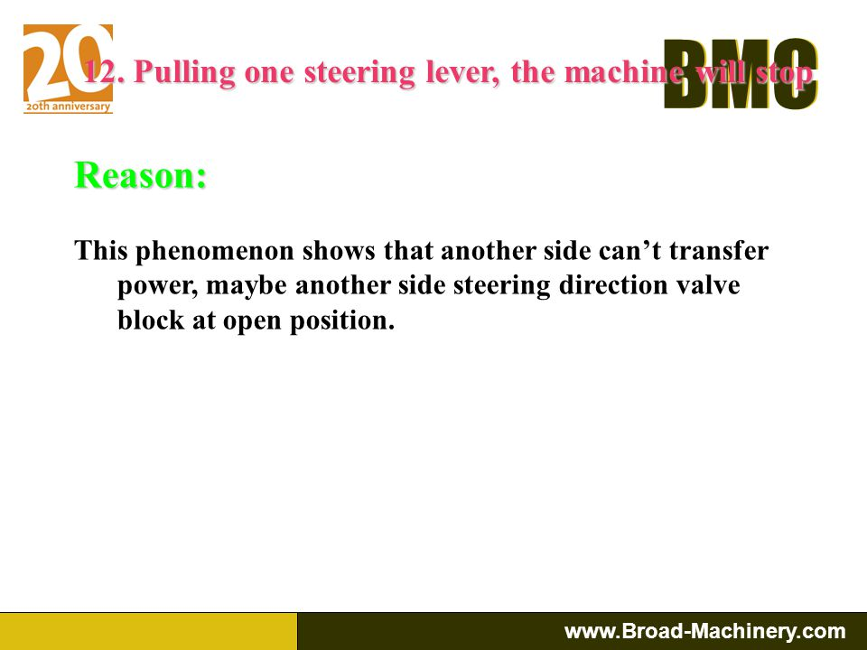 12. Pulling one steering lever, the machine will stop