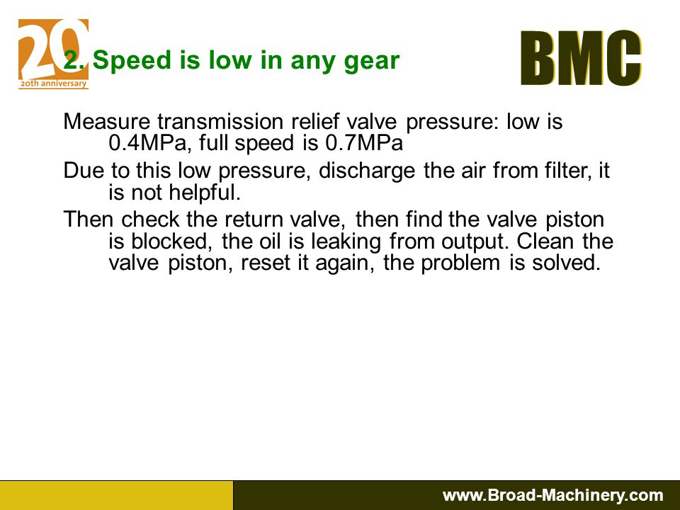 2. Speed is low in any gear Measure transmission relief valve pressure: low is 0.4MPa, full speed is 0.7MPa.