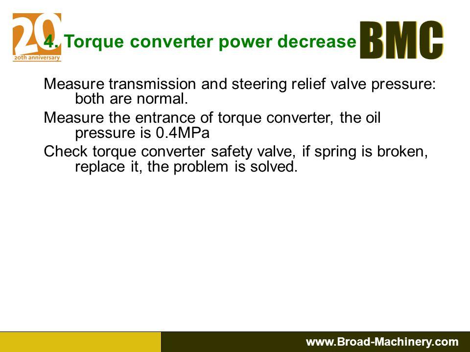 4. Torque converter power decrease