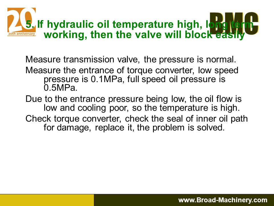 5. If hydraulic oil temperature high, long term working, then the valve will block easily