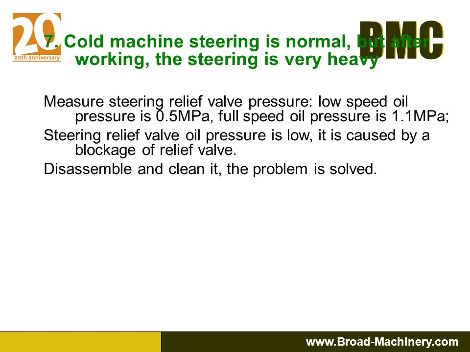 7. Cold machine steering is normal, but after working, the steering is very heavy