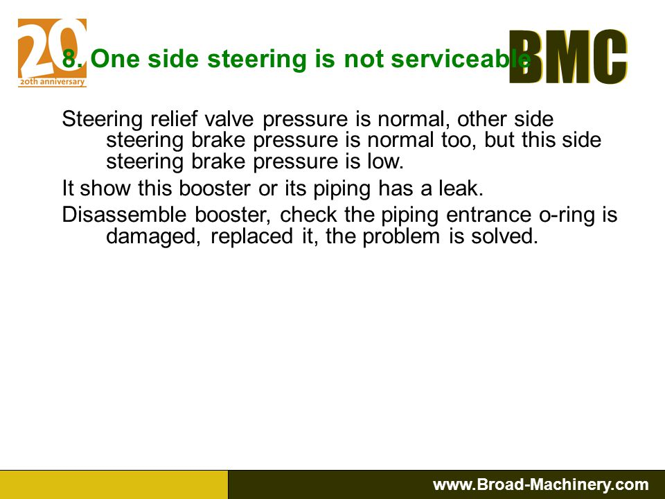 8. One side steering is not serviceable