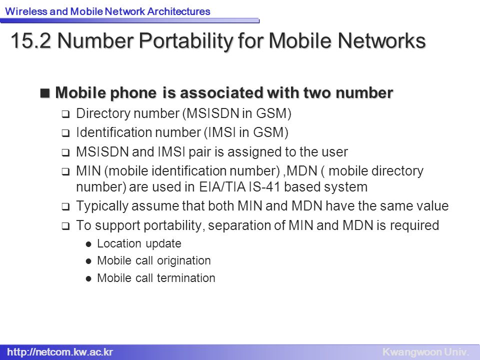 15.2 Number Portability for Mobile Networks