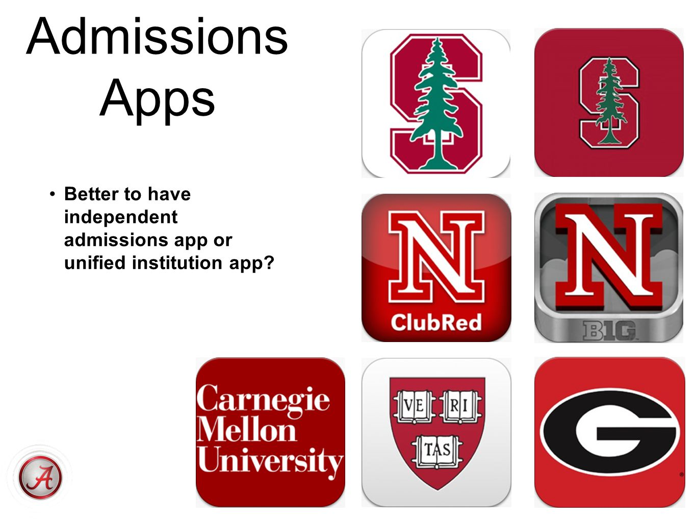 Admissions Apps Better to have independent admissions app or unified institution app