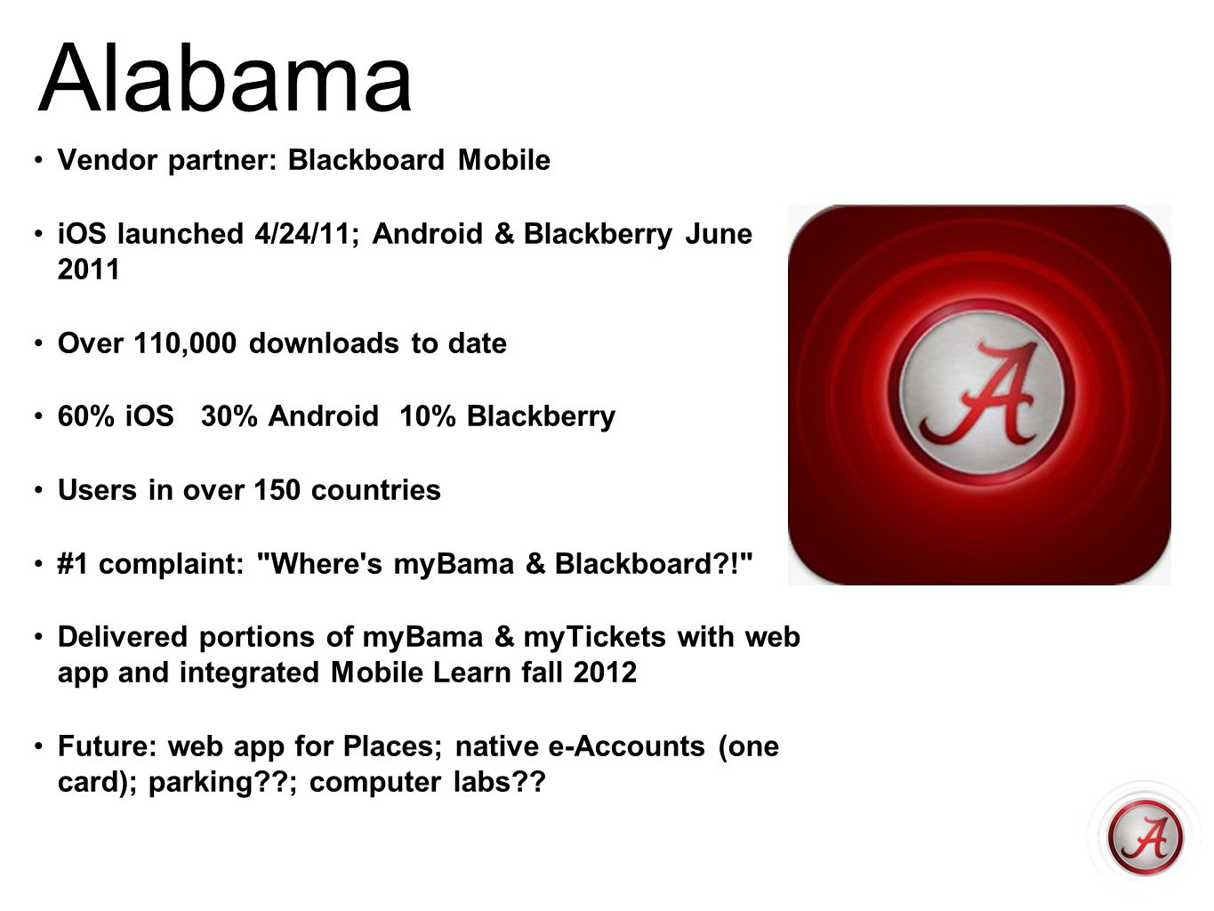Alabama Vendor partner: Blackboard Mobile