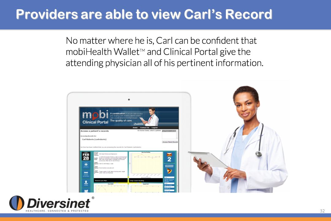 Providers are able to view Carl's Record