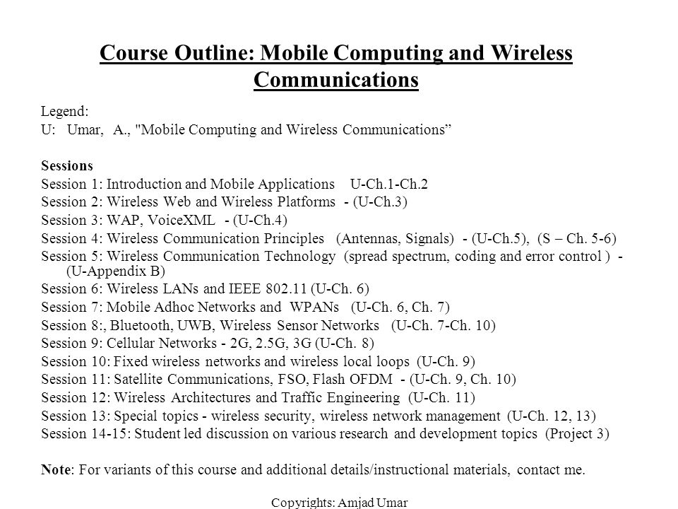 Course Outline: Mobile Computing and Wireless Communications