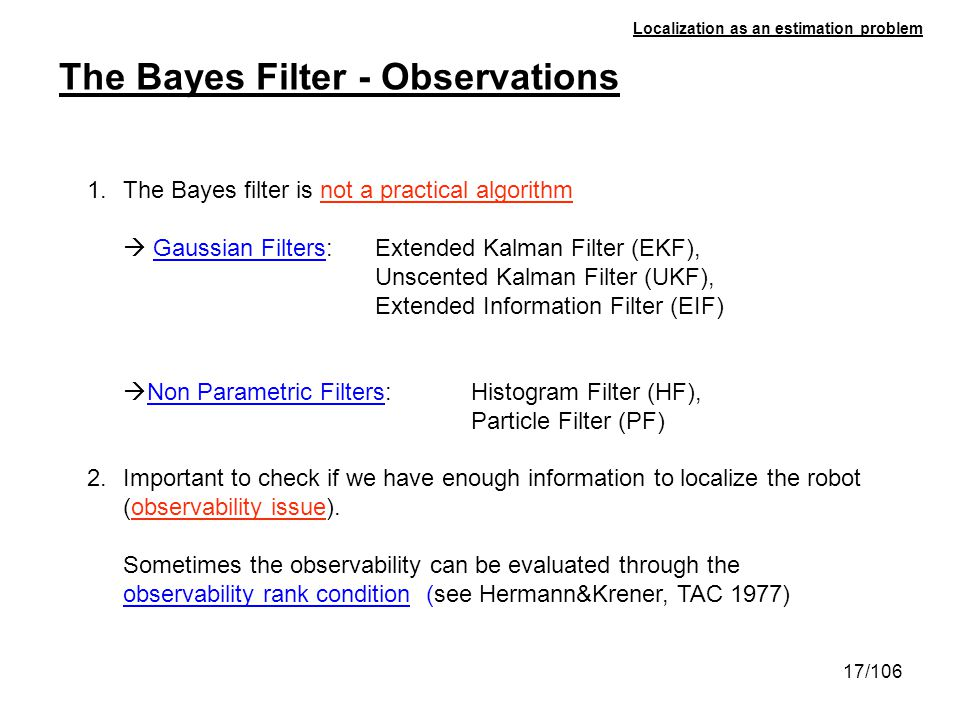 The Bayes Filter - Observations