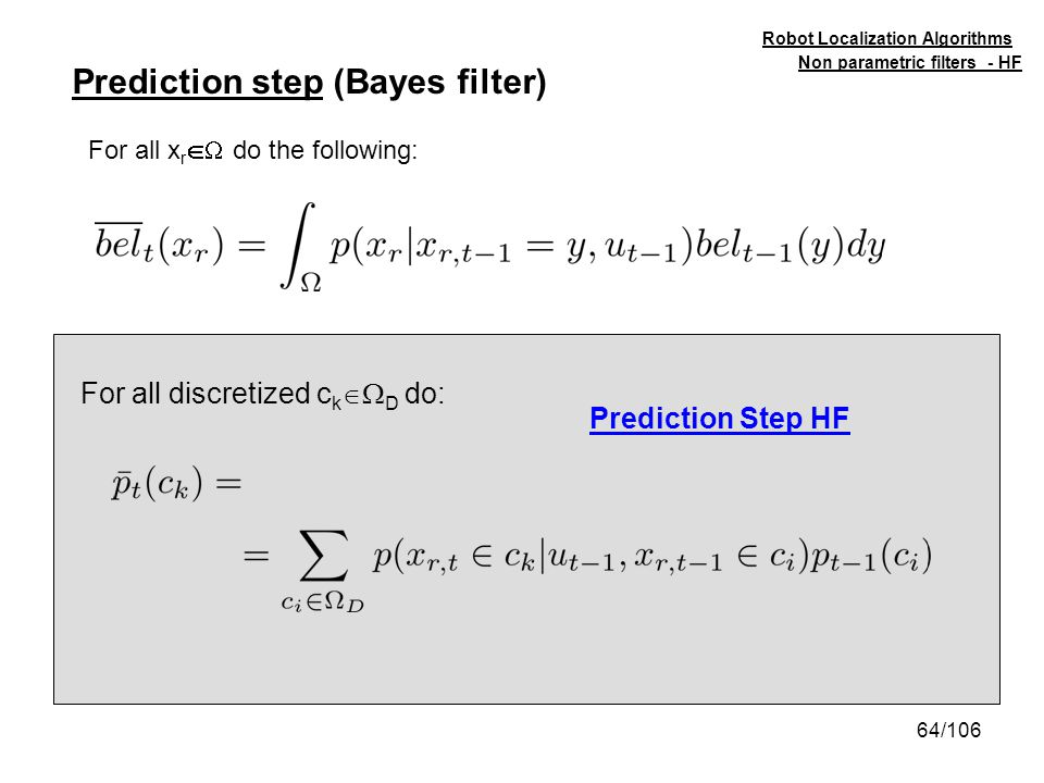 Prediction step (Bayes filter)