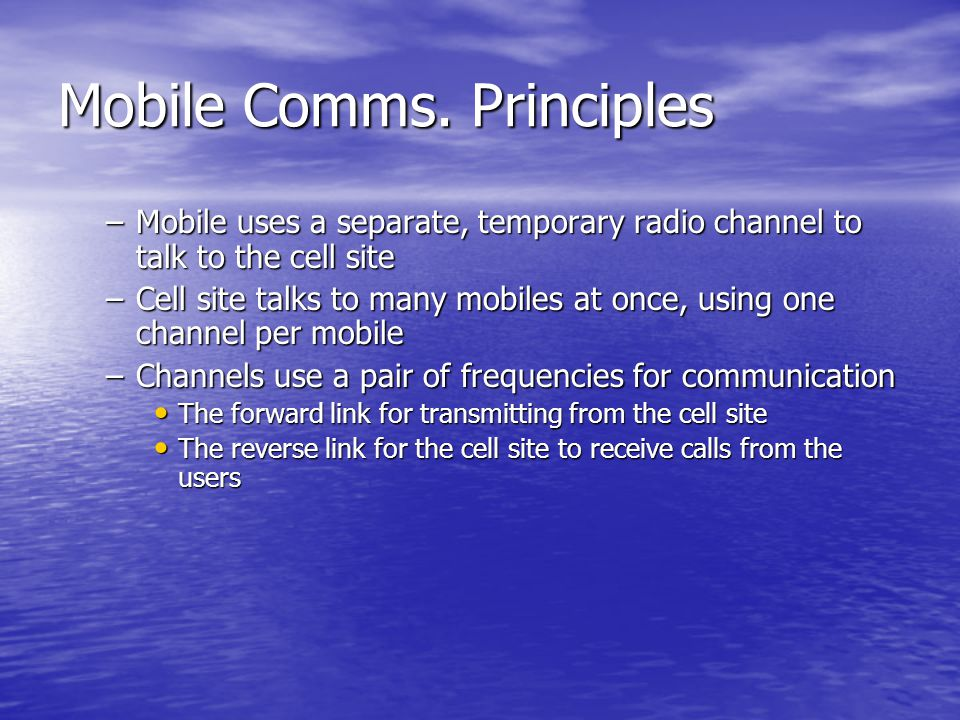 Mobile Comms. Principles
