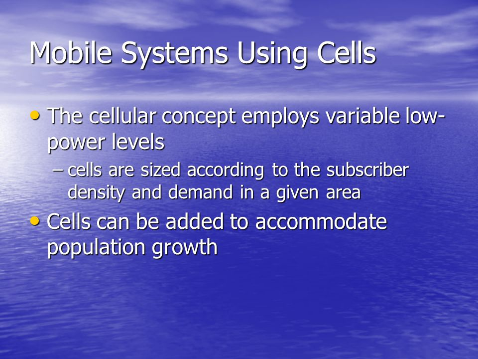 Mobile Systems Using Cells