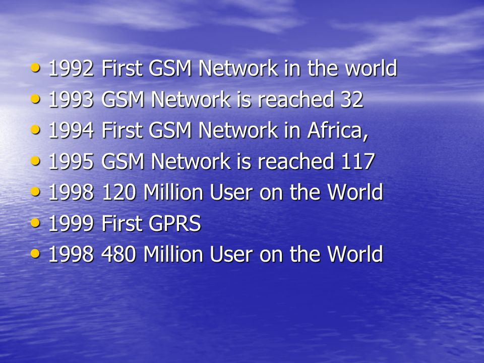 1992 First GSM Network in the world