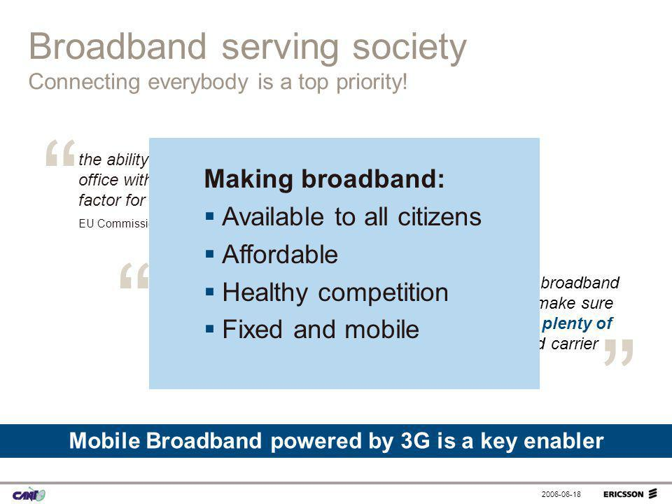 Mobile Broadband powered by 3G is a key enabler
