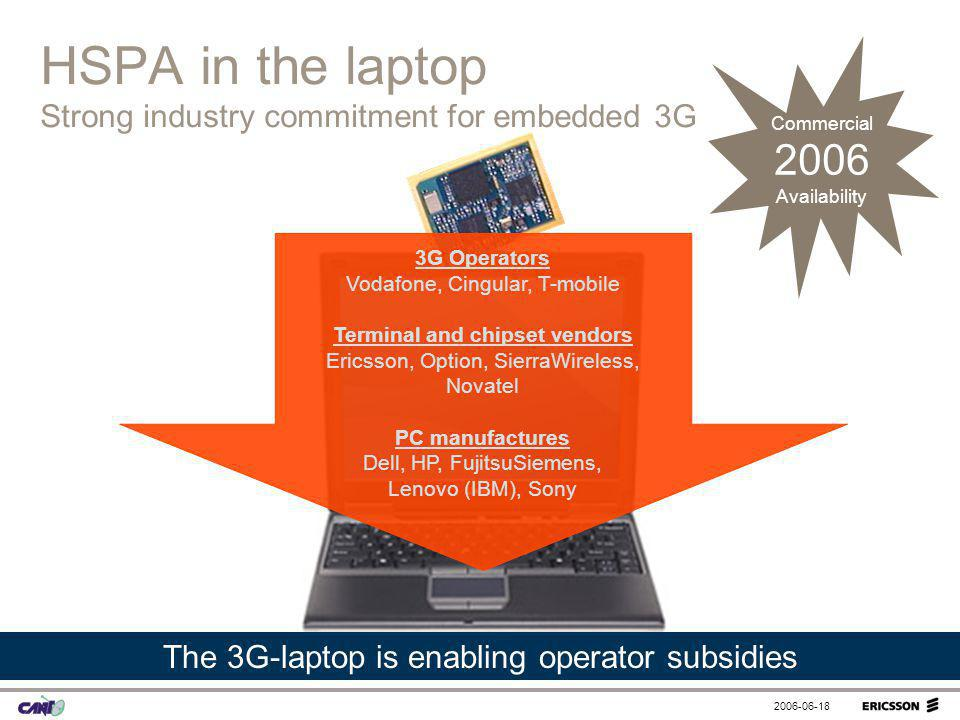HSPA in the laptop Strong industry commitment for embedded 3G