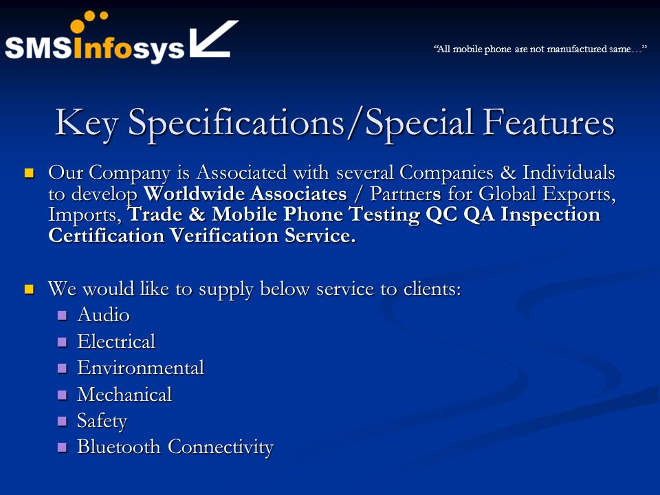 Key Specifications/Special Features