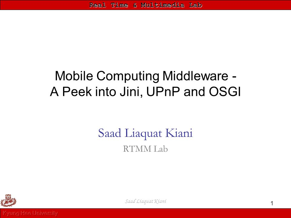 Mobile Computing Middleware - A Peek into Jini, UPnP and OSGI