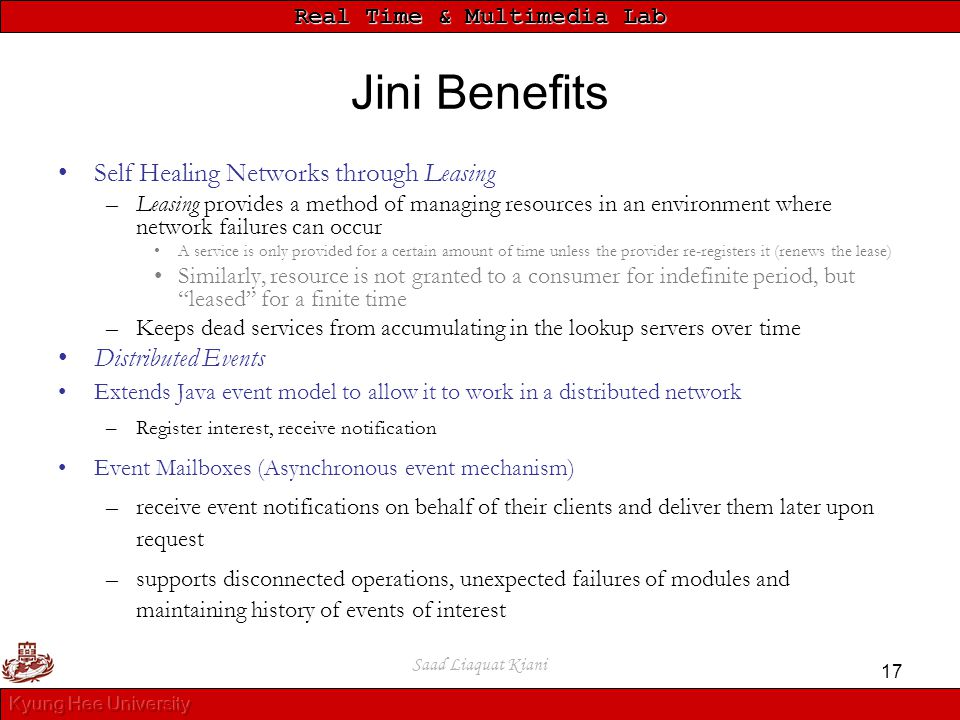 Jini Benefits Self Healing Networks through Leasing Distributed Events