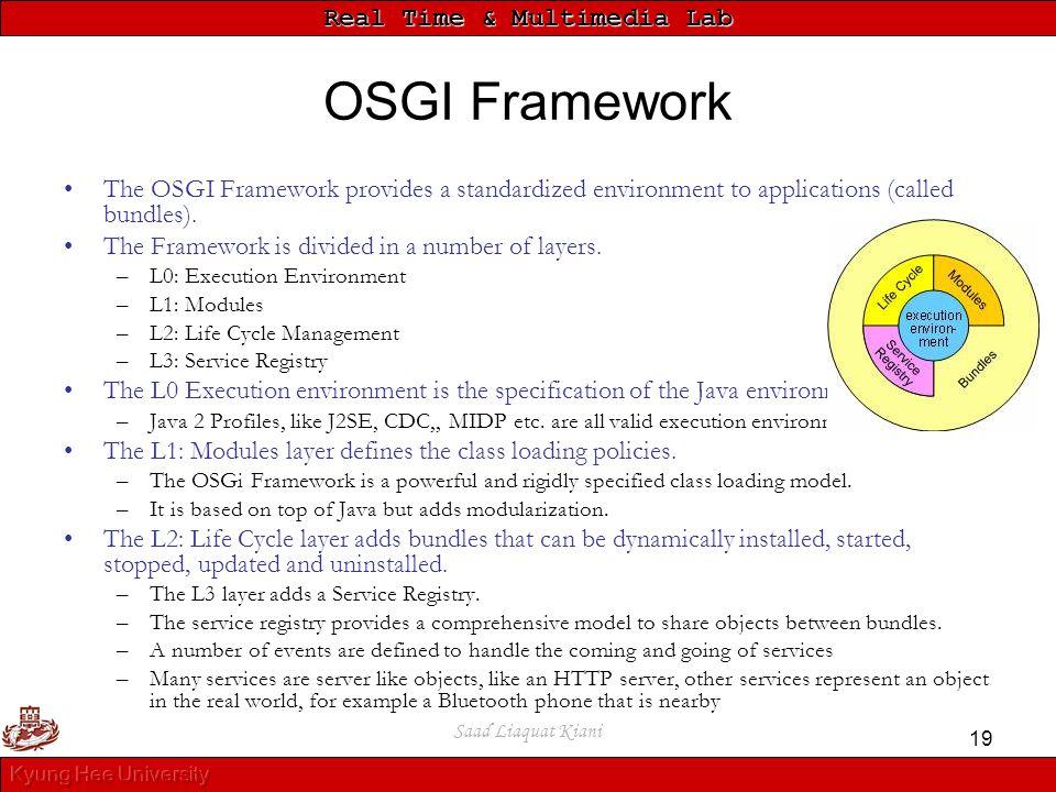 OSGI Framework The OSGI Framework provides a standardized environment to applications (called bundles).