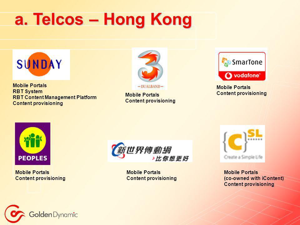 a. Telcos – Hong Kong Mobile Portals RBT System
