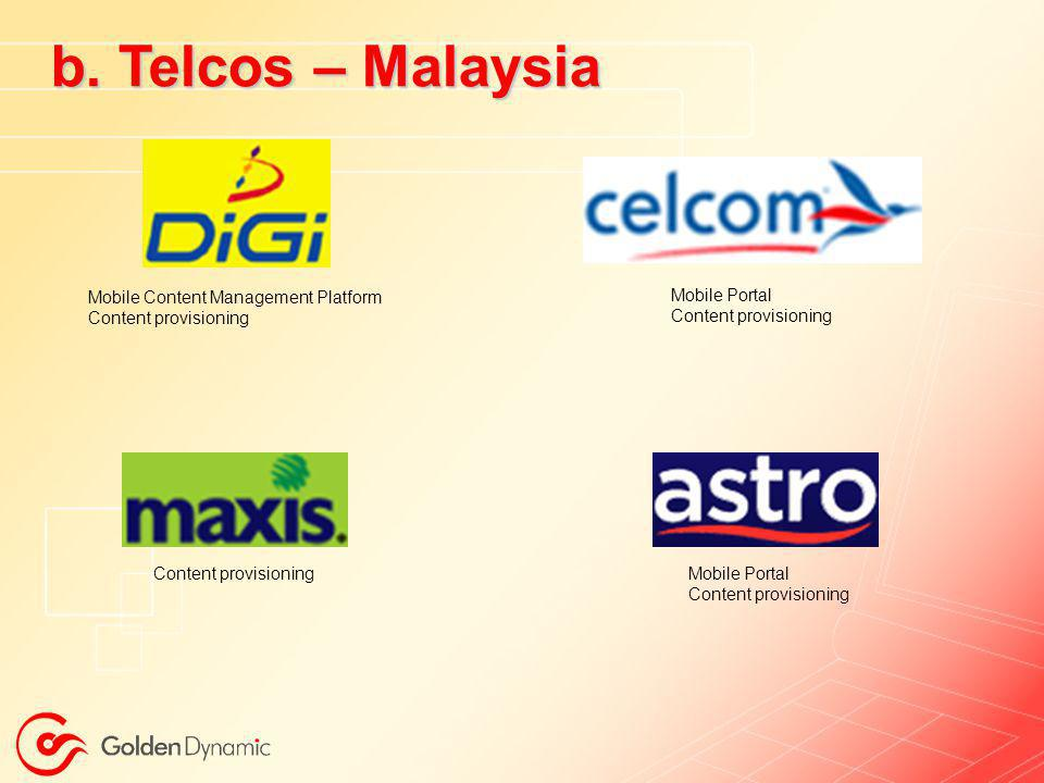 b. Telcos – Malaysia Mobile Content Management Platform