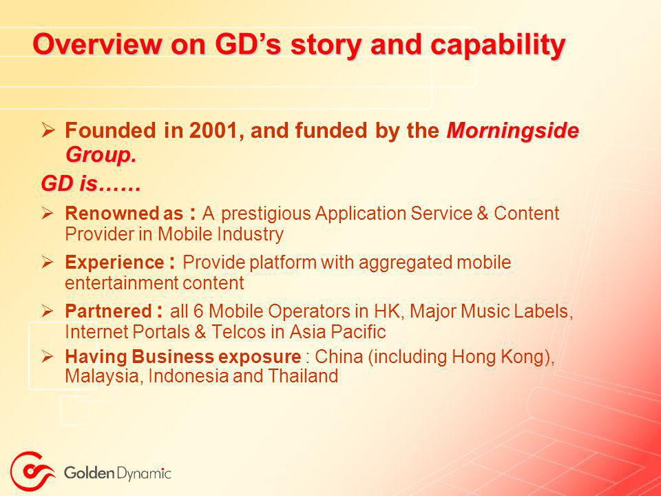 Overview on GD's story and capability