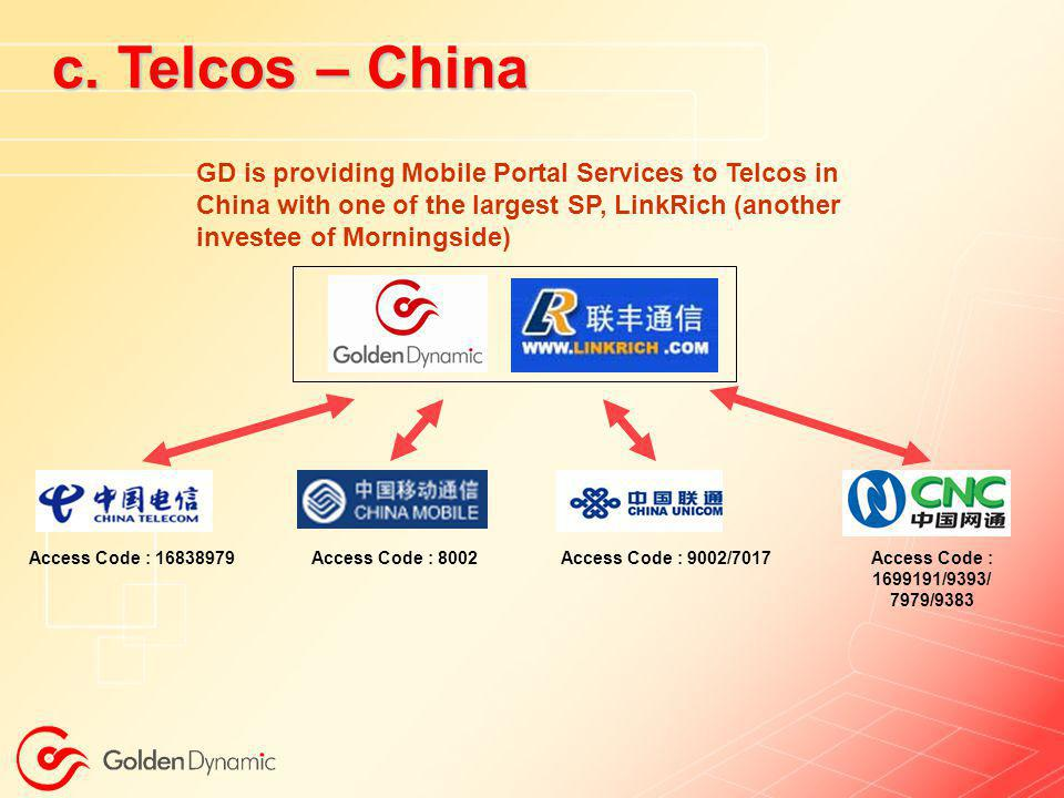 c. Telcos – China GD is providing Mobile Portal Services to Telcos in China with one of the largest SP, LinkRich (another investee of Morningside)