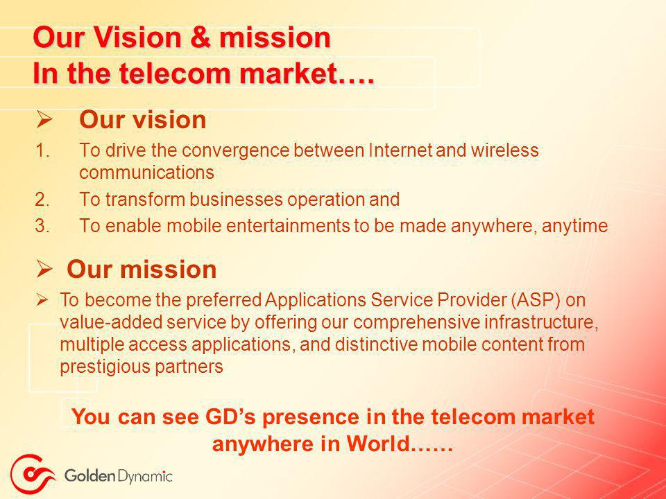 You can see GD's presence in the telecom market anywhere in World……