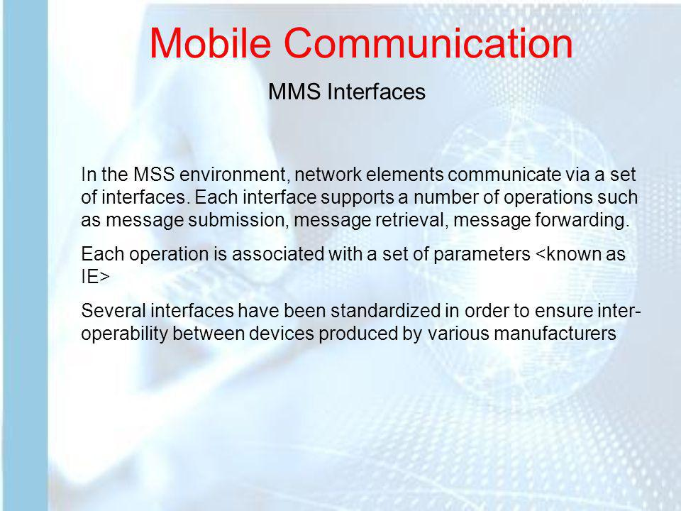 Mobile Communication MMS Interfaces