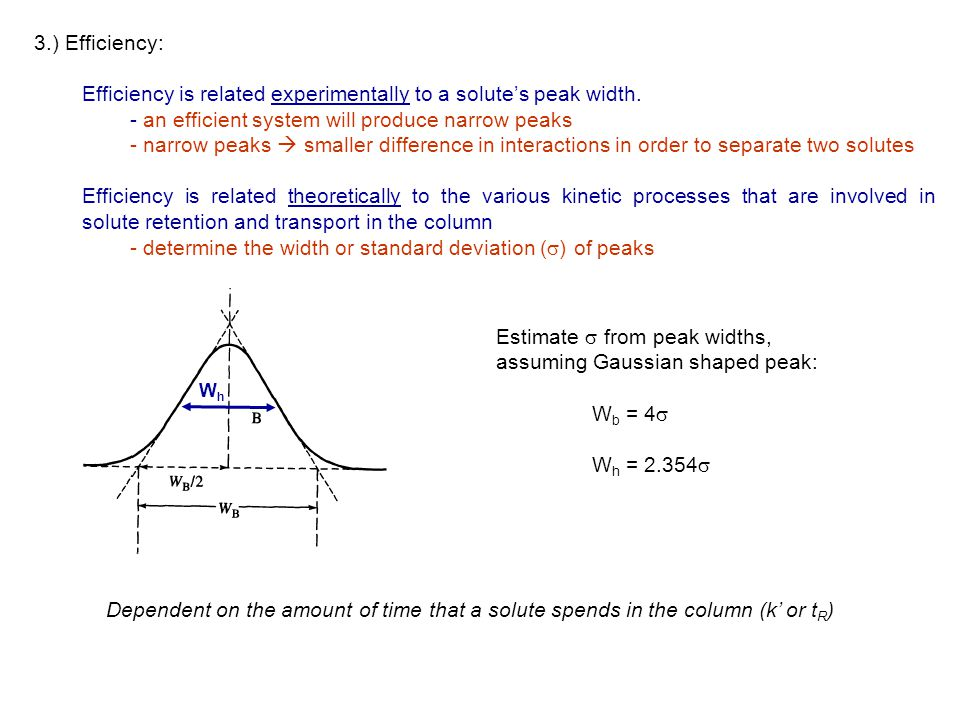 Efficiency is related experimentally to a solute's peak width.