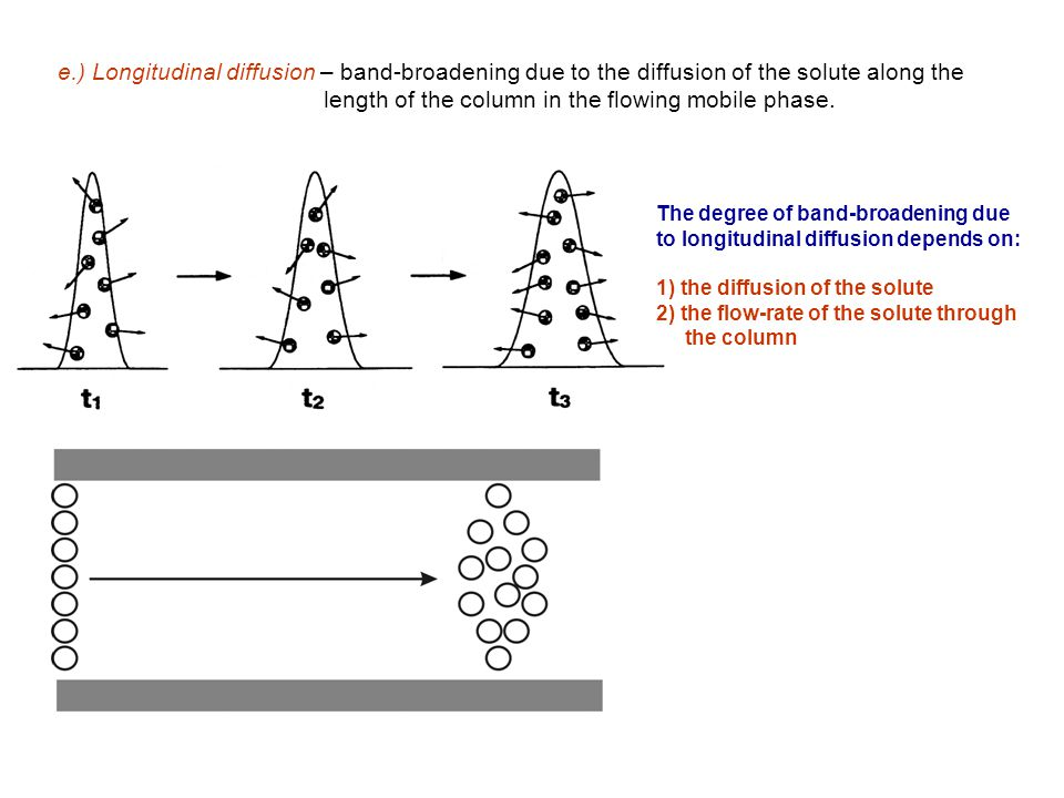 e.) Longitudinal diffusion – band-broadening due to the diffusion of the solute along the length of the column in the flowing mobile phase.