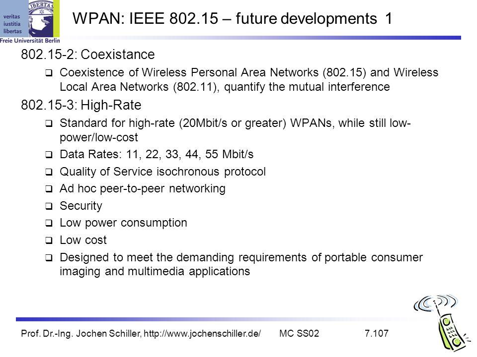 WPAN: IEEE 802.15 – future developments 1
