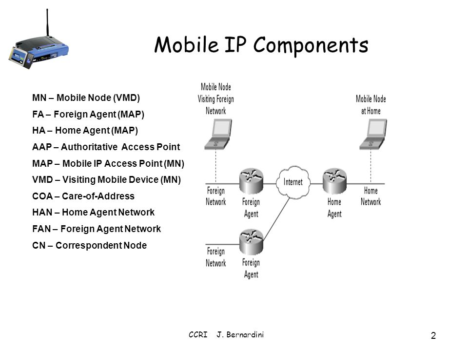 Mobile IP Components MN – Mobile Node (VMD) FA – Foreign Agent (MAP)