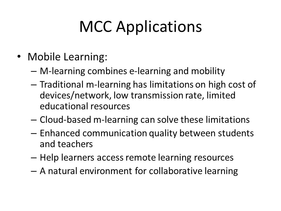 MCC Applications Mobile Learning: