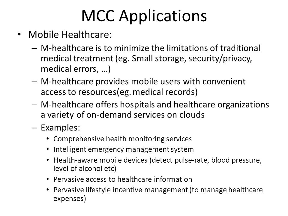 MCC Applications Mobile Healthcare: