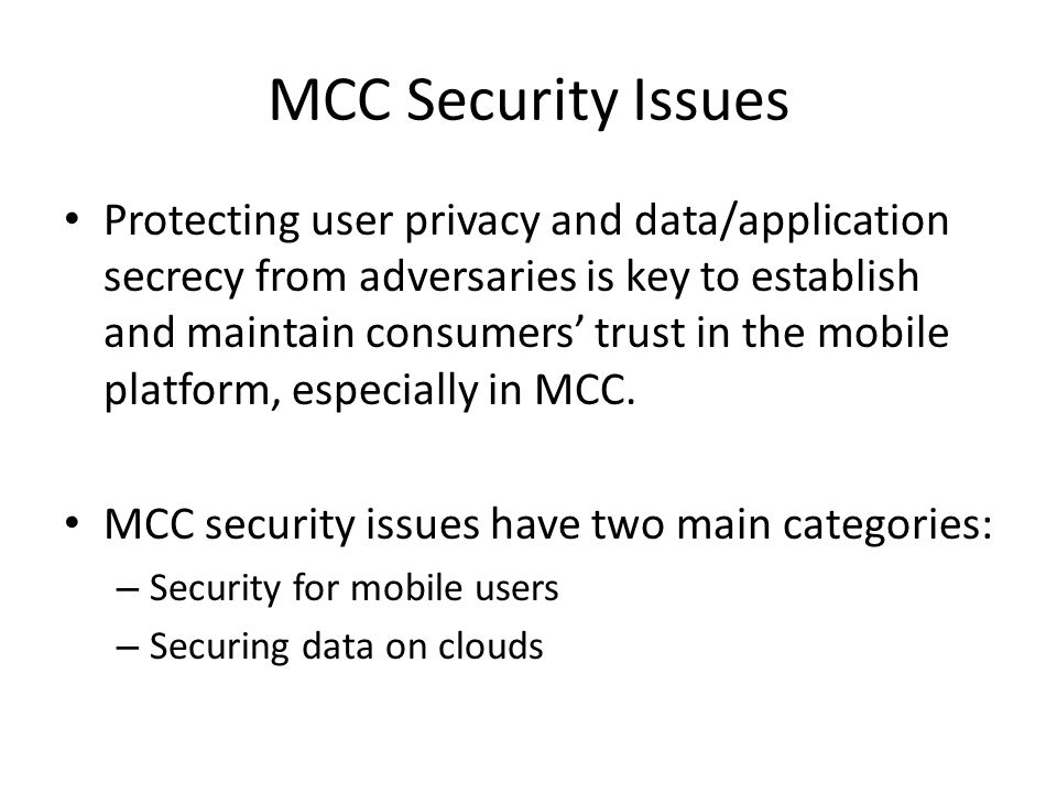 MCC Security Issues