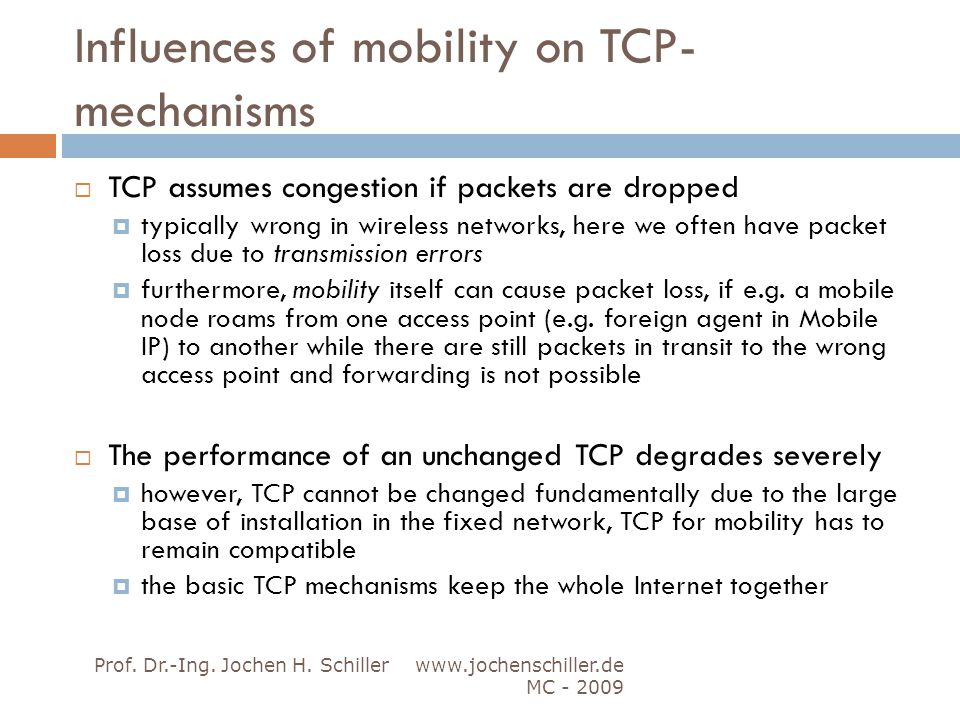 Influences of mobility on TCP-mechanisms