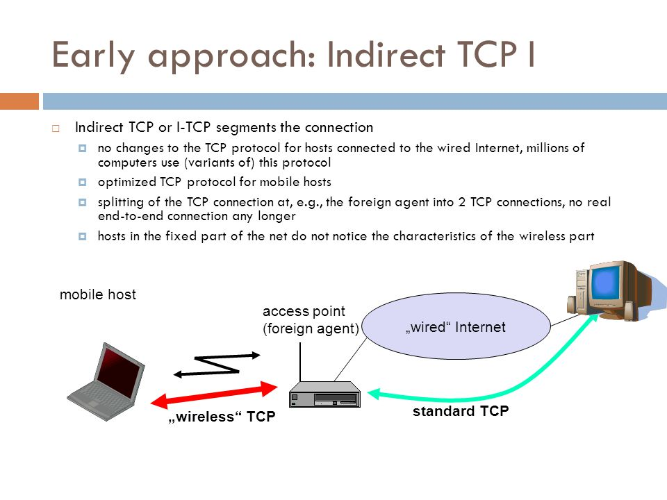 Early approach: Indirect TCP I