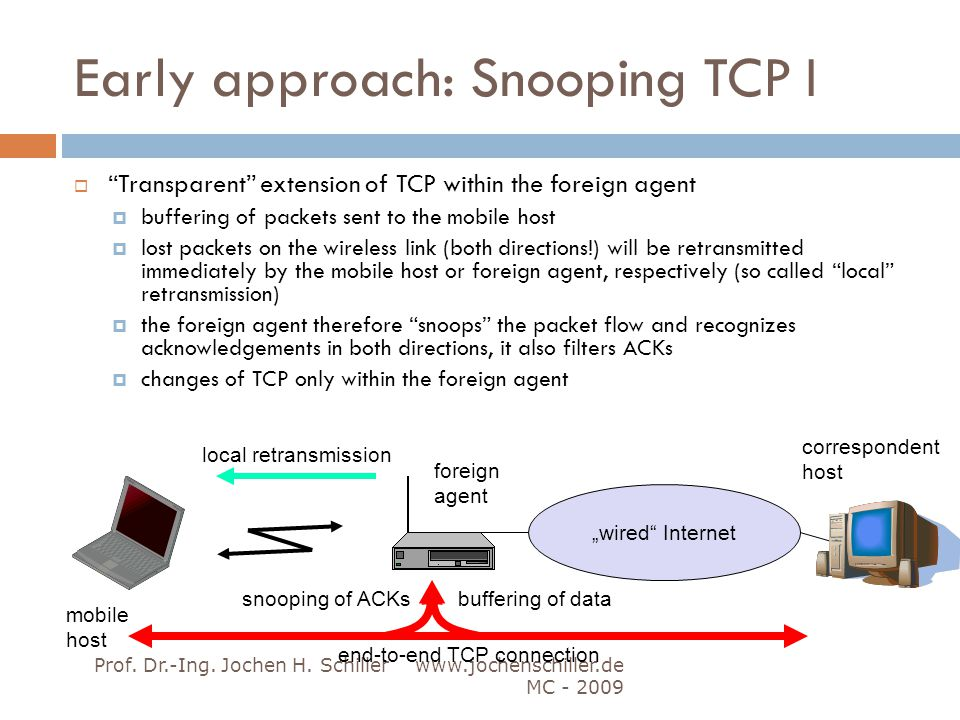Early approach: Snooping TCP I