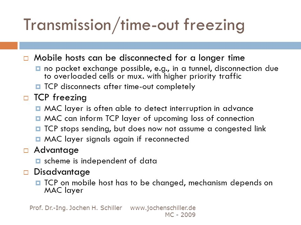 Transmission/time-out freezing
