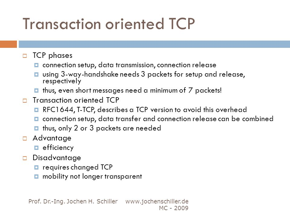 Transaction oriented TCP