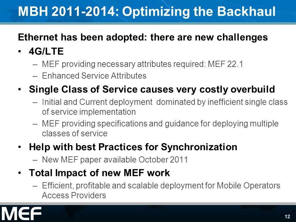 MBH 2011-2014: Optimizing the Backhaul
