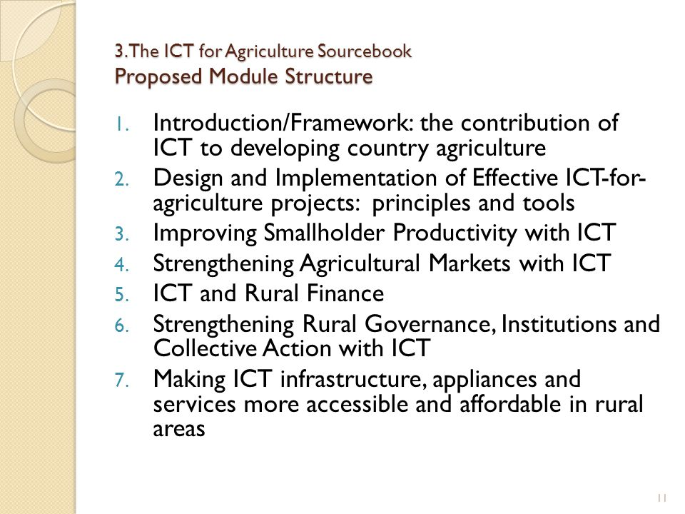3. The ICT for Agriculture Sourcebook Proposed Module Structure