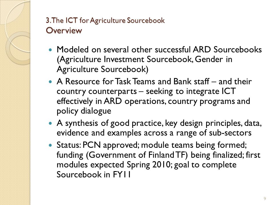 3. The ICT for Agriculture Sourcebook Overview