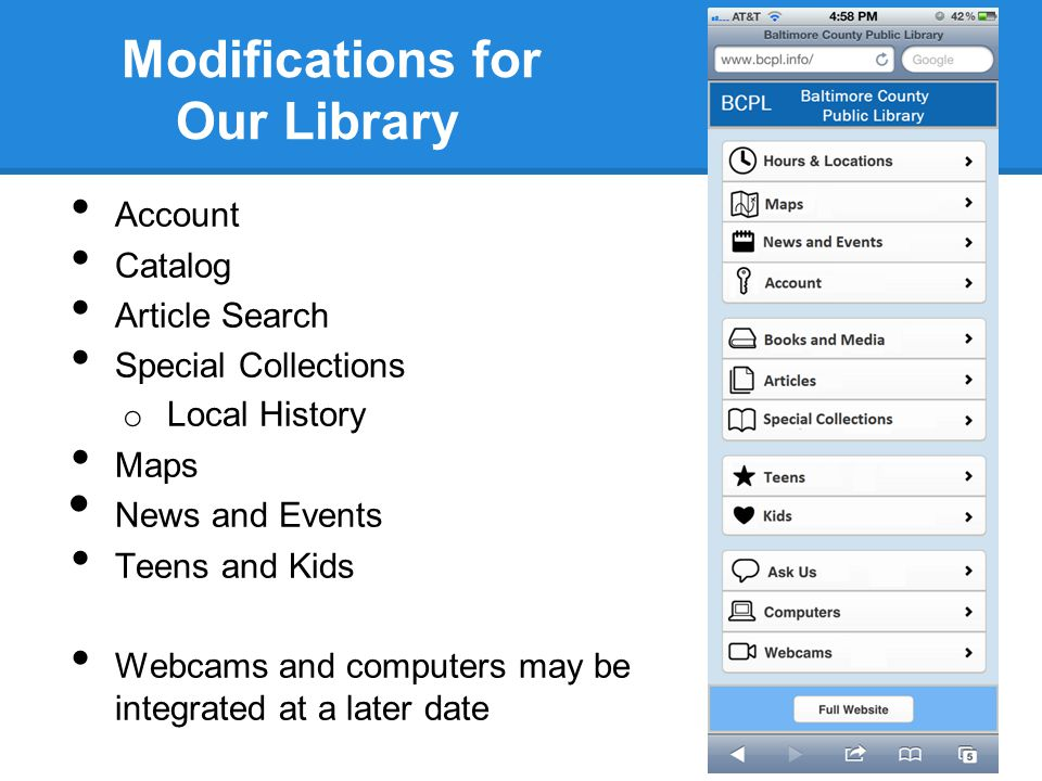 Modifications for Our Library