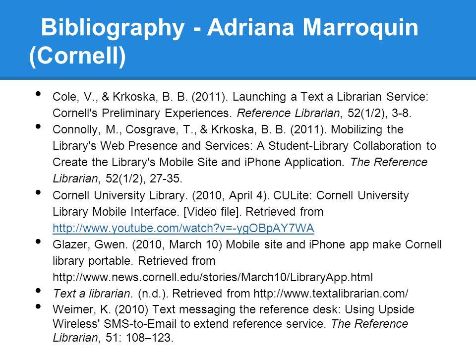 Bibliography - Adriana Marroquin (Cornell)