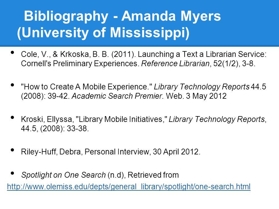 Bibliography - Amanda Myers (University of Mississippi)