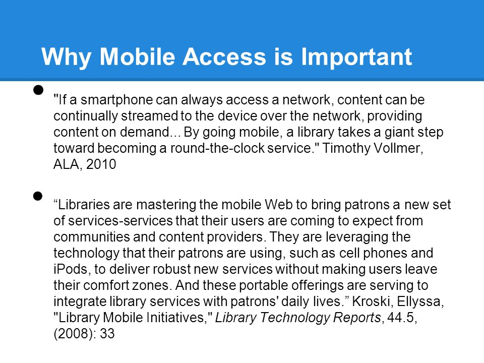 Why Mobile Access is Important