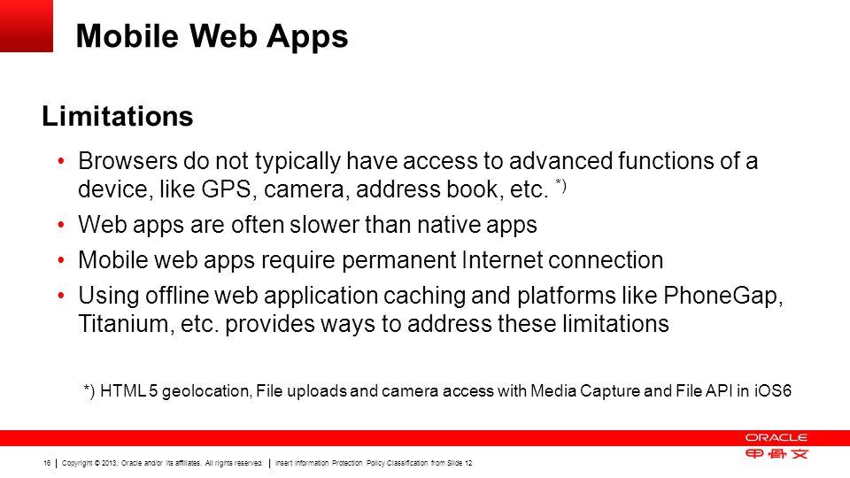 Mobile Web Apps Limitations