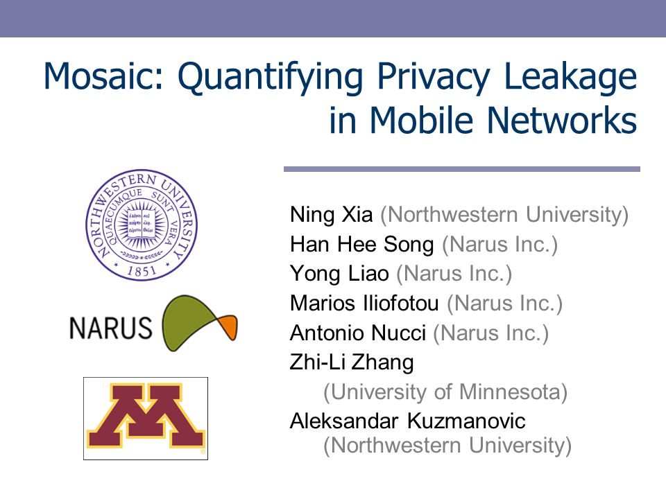 Mosaic: Quantifying Privacy Leakage in Mobile Networks