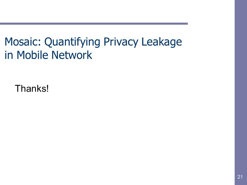 Mosaic: Quantifying Privacy Leakage in Mobile Network